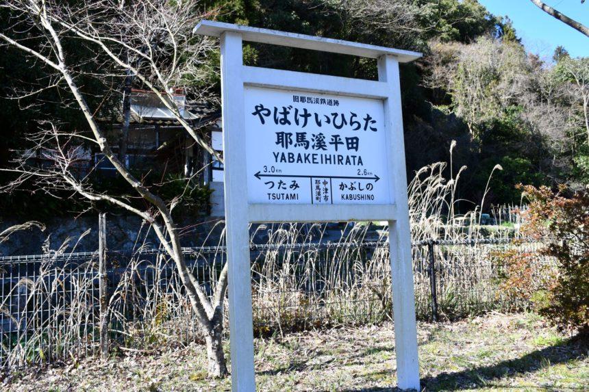 サイクリングロード(旧耶馬溪鉄道跡看板)